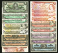 Canadian Currency: , Canadian Group Lot.. ... (Total: 16 notes)