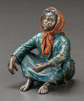 Paintings, A FRANZ BERGMAN VIENNESE COLD PAINTED BRONZE FIGURE. Austria, circa 1900. Marks: (amphora-B), GESCHÜTZT, 2897, 820. 3 in...
