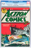 Golden Age (1938-1955):Superhero, Action Comics #11 (DC, 1939) CGC VF- 7.5 Off-white pages....