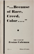 "Books:Americana & American History, [Court Case]. Festus Coleman [subject]. ""...Because of Race,Creed, Color...."": The Case of Festus Coleman. Cole..."