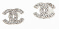 Luxury Accessories:Accessories, Chanel Silver and Crystal CC Logo Earrings. ...