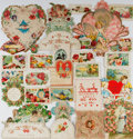 Miscellaneous:Ephemera, Group of Victorian Calling Cards and Valentines. Large selection ofembossed and chromolithographic calling cards and Valent...