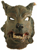 "Movie/TV Memorabilia:Costumes, Bud Abbott's Screen-Worn Mask from ""Abbott and Costello MeetFrankenstein."" Donning this papier-mâché wolf mask in prominent...(Total: 1 Item)"