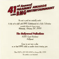 Music Memorabilia:Memorabilia, Post Grammy Ceremony BMG Entertainment Gala Invitation (1999).Super-cool invitation that was given to record, radio, and ot...(Total: 1 Item)