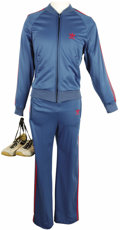 Movie/TV Memorabilia:Costumes, George Burns Cigar and Jogging Suit. A George Burns blue Adidasrunning suit & leather sneakers worn by Burns circa the 1980...(Total: 1 Item)