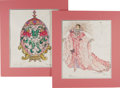 Movie/TV Memorabilia:Original Art, Original Liberace Costume Design Sketches. Two original costumedesign sketches for Liberace, each hand-rendered and colored...(Total: 1 Item)