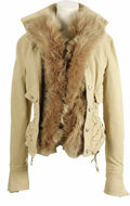 Music Memorabilia:Costumes, Cher Owned Fur Trimmed Jacket. A tan Gianfranco Ferre jacket trimmed in fur, owned and privately worn by Cher. With ornament... (Total: 1 Item)