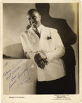 "Music Memorabilia:Autographs and Signed Items, Jimmie Lunceford Signed Photo. A vintage b&w 8"" x 10"" photo ofthe Jazz band leader and saxophonist, inscribed, February 22,...(Total: 1 Item)"