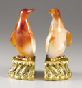 Ceramics & Porcelain, Continental:Modern  (1900 1949)  , A Pair Of Carnelian And Gilt Bronze Bookends. . Japanese. Early Twentieth Century. Carnelian and gilt bronze. Marks: stamped... (Total: 2 Items)