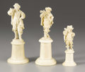 Decorative Arts, French:Other , A Group of Three French Carved Ivory Figures. Unknown maker,possibly Dieppe, France. 19th century. Ivory. Marks: none . 7...(Total: 3 Items)