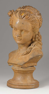 A Cast Iron Bust of a Young Girl 19th - 20th Century Cast iron 17 inches in height