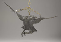 A Finely Cast Bronze Oil Lamp in the Form of an Eagle Circa 1880 - 1890 19 inches high x 25.5 inches wide