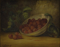 AUGUST LAUX (American 1827-1941) Still Life with Raspberries, 1887 Oil on canvas 8 x 10 inches (2