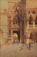 Fine Art - Sculpture, European:Antique (Pre 1900), UMBERTO ONGANIA (Italian Nineteenth Century). Porta de la Carta,Palazzo Ducale di Venezia, 1887. Watercolor on paper. 1...