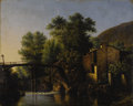 Fine Art - Painting, European:Antique  (Pre 1900), CONTINENTAL SCHOOL (Nineteenth Century) . River Landscape withMill and Bridge. Oil on panel. 12-1/2 x 15-1/2 inches (31...