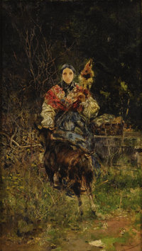 ITALIAN SCHOOL (Nineteenth Century) Spinner and Goat Oil on wood panel 15 x 9 inches (38.1 x 22