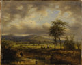 Fine Art - Painting, European:Antique  (Pre 1900), CONTINENTAL SCHOOL (Nineteenth Century). Landscape withShepherds. Oil on canvas. 13-1/2 x 11 inches (34.3 x 27.9 cm).U...
