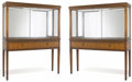 Furniture , A Pair of Glazed Vitrine Cabinets. Unknown maker, American. c. 1930. Mahogany, birch or sycamore, ebonized wood, mirrored ... (Total: 2 Items)