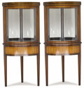 Furniture , A Pair of Corner Vitrine Cabinets. Unknown maker, American/English. c. 1930. Mahogany, satinwood, ebonized wood, mirrored ...