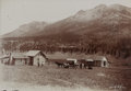 Photography:Cabinet Photos, Unmounted Photograph of Mud Wagon/ Stagecoach at Log Cabins, ca.1880s....
