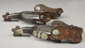 Western Expansion:Cowboy, McCHESNEY SHIELD PATTERN TEXAS SPURS ca. 1930 - Nocona periodmarked McChesney overlaid spurs with single mounted bands; Op...(Total: 1 Item)