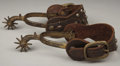 "Western Expansion:Cowboy, CLASSIC DROP SHANK COWBOY SPURS BY AUGUST BAUERMANN - ""Pat. Feb 6,1877"" mark at rear of brand, drape pattern chasing, ful... (Total:1 Item)"