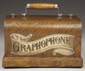 "Western Expansion:Cowboy, ""THE GRAPHOPHONE"" TYPE QC - Manufactured between 1903 and 1908,this has a fine oak case and clear decal. This model with ca..."