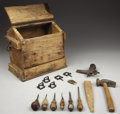 Western Expansion:Cowboy, WESTERN BOOT COBBLERS TOOL BOX ca. 1890's - A nice primitive handmade box containing tools of the trade for the shoe or bo...