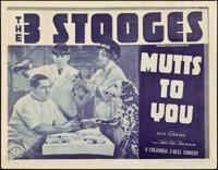 "The Three Stooges in Mutts To You (Columbia, 1938). Title Lobby Card (11"" X 14"")"