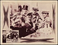 """The Three Stooges in Violent is the Word for Curly (Columbia, 1938). Lobby Card (11"""" X 14"""")"""