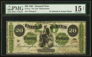 Featured item image of Fr. 11a $20 1861 Demand Note PMG Choice Fine 15 Net.  ...