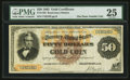 Large Size:Gold Certificates, Fr. 1192 $50 1882 Gold Certificate PMG Very Fine 25.. ...