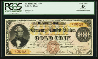 Featured item image of Fr. 1202a $100 1882 Gold Certificate PCGS Apparent Very Fine 35.  ...