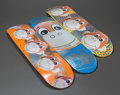 Fine Art - Painting, American:Contemporary   (1950 to present)  , JEFF KOONS (American, b. 1954). A Suite of Three Monkey TrainSkate Decks, 2006. Color screenprints on skateboards. 31-3...(Total: 3 Items)
