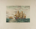"Books:Prints & Leaves, Edward Galea, artist. Aquatint Print ""U.S.C.G. Eagle"", Plate 4 from Fores's Marine Scenes. 27"" x 22"". Some modest toning alo..."