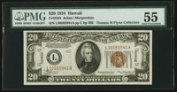 Fr. 2304 $20 1934 Hawaii Federal Reserve Note. PMG About Uncirculated 55