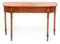 Furniture , A GEORGE III-STYLE FRUITWOOD SIDE TABLE. 20th century. 30 x 41 x 11-1/4 inches (76.2 x 104.1 x 28.6 cm). PROPERTY ...