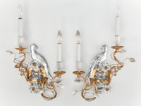 A PAIR OF ROCK CRYSTAL AND GILT BRONZE FIGURAL BIRD SCONCES 20th century 22 inches high (55.9 cm)  PROPER