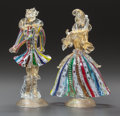 Art Glass:Other , A PAIR OF MURANO GLASS FIGURES. 20th century. 9-3/4 inches high(24.8 cm) (taller). PROPERTY FROM A PRIVATE TEXAS COLLECTI...(Total: 2 Items)
