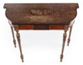 Furniture : French, A GEORGE III-STYLE CARVED SATINWOOD, PAINTED AND PARCEL-GILTCONSOLE TABLE. 19th century. 32 x 39-1/4 x 17 inches (81.3 ...