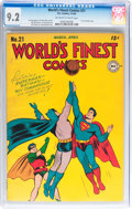 Golden Age (1938-1955):Superhero, World's Finest Comics #21 (DC, 1946) CGC NM- 9.2 Off-white to white pages....