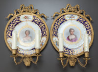 A PAIR OF SÈVRES-STYLE PLATES MOUNTED AS TWO-LIGHT SCONCES Circa 1900 Marks: (pseudo Sèvres marks) 14-1/2...