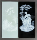 Ceramics & Porcelain, TWO PATE-SUR-PATE PORCELAIN PLAQUES. Circa 1900. 17-3/4 inches high x 7-3/4 inches wide (45.1 x 19.7 cm) (putti example). ... (Total: 2 Items)
