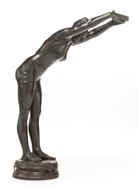 A PATINATED BRONZE STATUE OF A FEMALE DIVER Dated 1887 Marks: Signed indistinctly 43-1/2 inches high (110.5