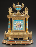 Decorative Arts, Continental:Other , A SÈVRES-STYLE GILT BRONZE CLOCK ON GILT WOOD BASE. Late 19th/early20th century. 16 inches high (40.6 cm). ...