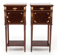 A PAIR OF MAHOGANY MARQUETRY AND GILT BRONZE MOUNTED MARBLE TOP BEDSIDE CABINETS Early 20th century 32 inches h
