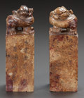 Asian:Chinese, A PAIR OF CHINESE HARDSTONE FIGURAL SEALS. 20th century. Marks:various chop marks. 6-1/2 inches high (16.5 cm). ... (Total: 2Items)