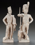 Decorative Arts, Continental, A FRENCH HUSSAR FROM THE BATTLE OF FLEURUS OF 1794 AND A FRENCHGRENADIER FROM THE BATTLE OF AUSTERLITZ OF 1806. 19th-20th c...(Total: 2 Items)