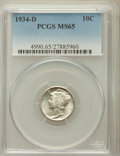 Mercury Dimes: , 1934-D 10C MS65 PCGS. PCGS Population (241/116). NGC Census:(169/100). Mintage: 6,772,000. Numismedia Wsl. Price for probl...