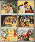 "Movie Posters:Swashbuckler, Fortunes of Captain Blood (Columbia, 1950). Title Lobby Card & Lobby Cards (5) (11"" X 14""). Swashbuckler.. ... (Total: 6 Items)"